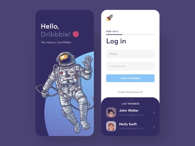 Galaxy LogIn sign up page ui design