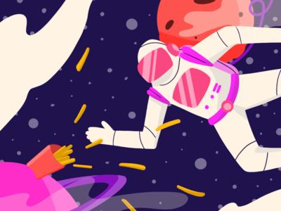 Anti-Gravity Fries fries astronaut space illustration digital art
