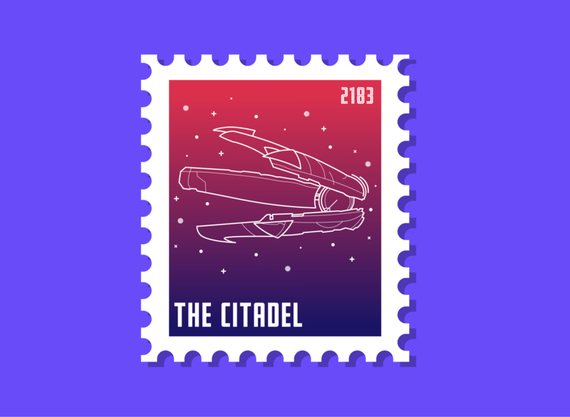 The Citadel citadel postage mass effect gaming vector illustrator design digital digital art