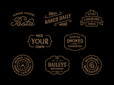 Small Batch Icons pasta logo whiskey food alcohol restaurant drink