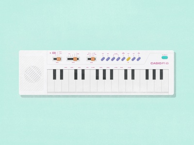 Casio PT-10 instrument play illustration piano 80´s key song childhood casio music keyboard