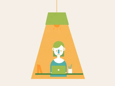 Focus design designer illustration freelance girl woman color character laptop light working focus
