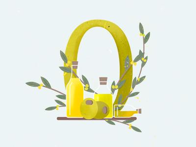 Olives crystal branch bottles illustration leaves tree green olives oil olive