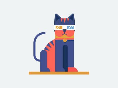 Retrocat color flat animal glasses illustration character cat