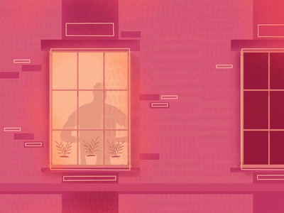 Window plants apartment man silhouette window