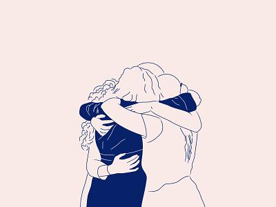 Hug your friends bond illustration girlfriends hug love friendship friends