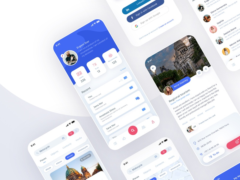 Social media App ux clean simple white figma social ios mobile ui ui ux design app