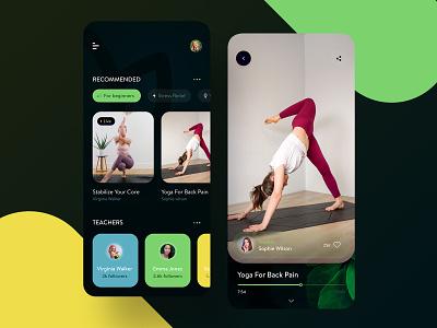 Yoga mobile app concept minimal simple ui app design exercises yoga ios ui ux mobile concept ui app design