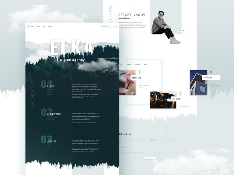 ELKA - website concept ux  ui cold development agency design studio portfolio agency web design website web ui  ux design home page concept
