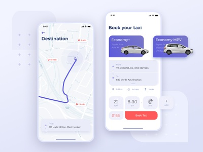 Taxi App design mobile map clear white android ios booking drive taxi app concept ui app design