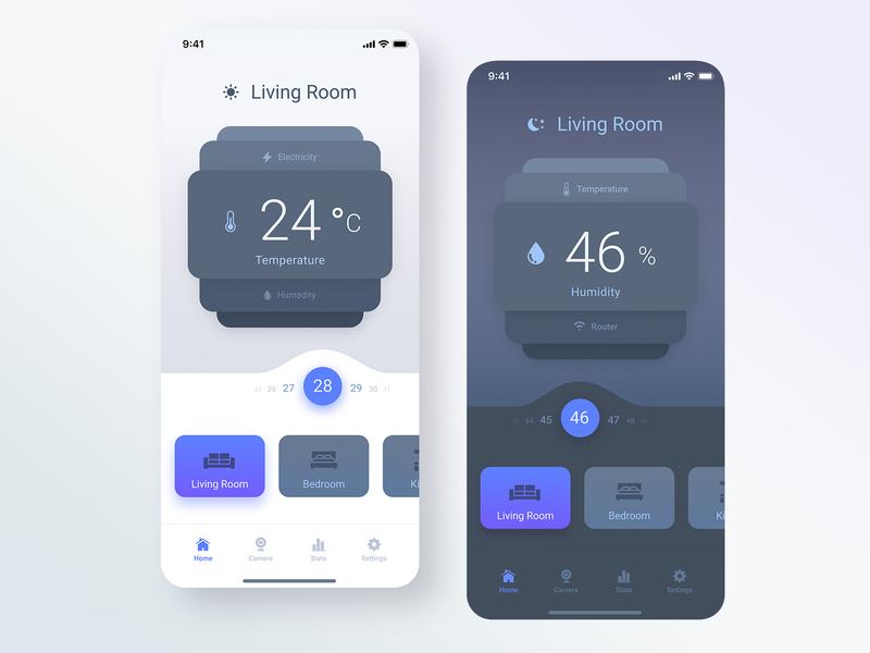 Smart Home mobile dark ui home app home controller light dark ui ux ui concept app design