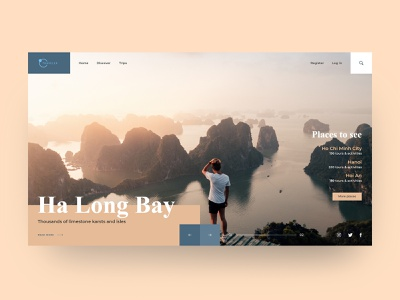 Welcome to Vietnam webdesign trips home page clean traveling page interface ux  ui web design website design