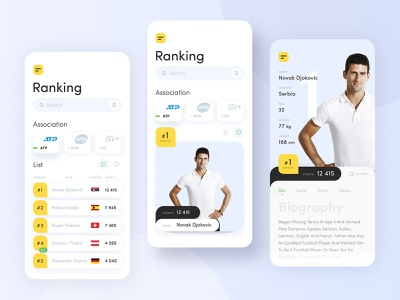 Tennis app interface yellow adobe xd mobile minimalistic tennis ui ux uidesign concept ui app