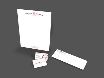 Circle M Ranch - Print branding print letterhead business card envelope red