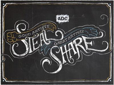 """Good Artists Steal, Great Artists Share"" logo"