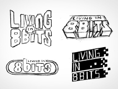Living in 8 Bits logo sketches