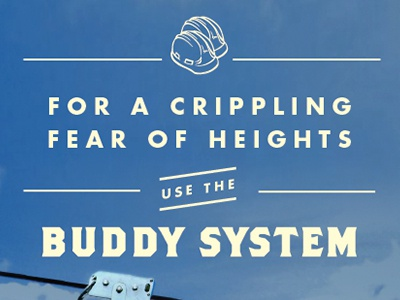 """Buddy System"" type treatment field guide buddy ziplining outdoors headline typography"