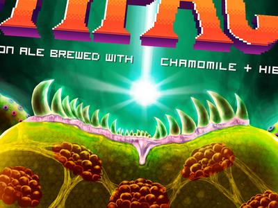 Steep Impact - beer label detail 2 retro gaming illustration 8 bit 16 bit pixel videogame beer super metroid metroid snes nes nintendo