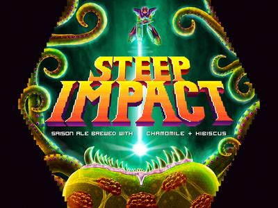 Steep Impact - finished beer label retro gaming illustration 8 bit 16 bit pixel videogame beer super metroid metroid snes nes nintendo