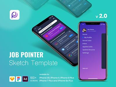 Job Pointer Sketch Template mobile app design sketch template adobe xd ux ui figma