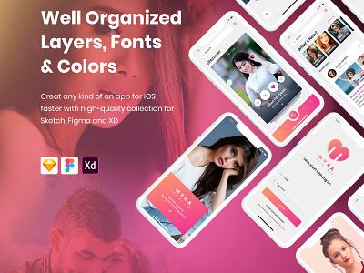 Myra Social App Sketch Template social app mobile app sketch template adobe xd