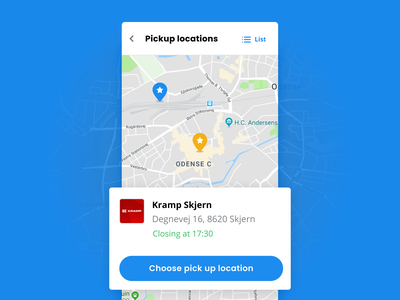 Pick-up Locations mobile ui minimal blue ux ui ecommerce webshop ordering farming agency native web location pick-up mobile map