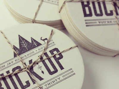 Buck Up! You're Only Thirty! moonshiner deming coasters stamp party surprise thirty 30 buck up deer woods minnesota
