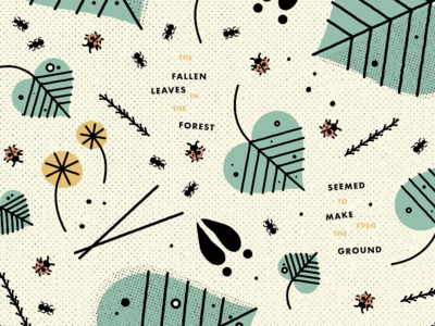 Illustration WIP dandelions leaves ground ants ladybugs nature forest woods type graphic design illustration