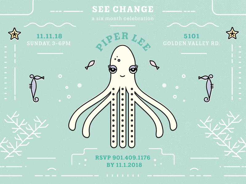 See Change WIP full vector texture graphic linework design babygirl party invite coral starfish seahorse octopus sea ocean illustration