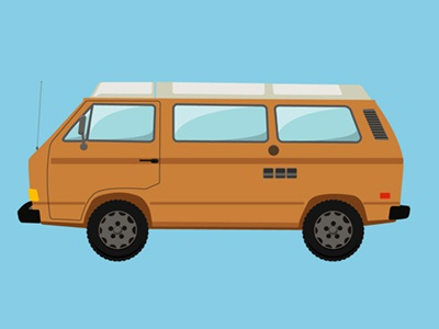 Camping Van: VW Retro  debut vector illustration icon simple flat car van camper camping summer hipster retro vintage westfalia vw