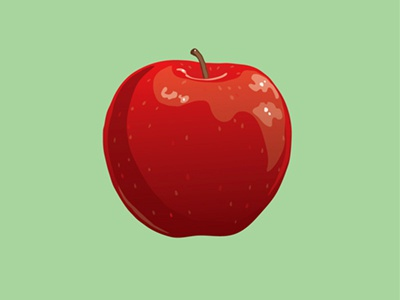 Apple Illustration Icon: Free apple illustration drawing vector rendering clean real still life illustrator food realistic design red