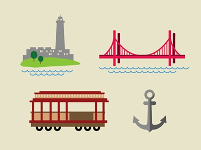 The Bay Icons: San Fran thebay travel vacation drive roadtrip fun illustration drawing sanfran california design anchor golden gate holiday icon