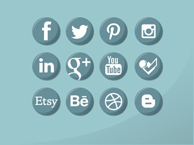 Social Media Logos Set linkedin etsy behance google plus youtube foursqaure dribbble blog icons branding circle facebook simple