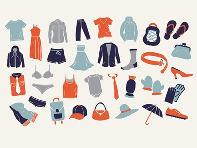 Clothes Apparel Icons clothes apparel products merchandise icons symbols timdegner illustrator simple flat minimal draw tee shoes dress