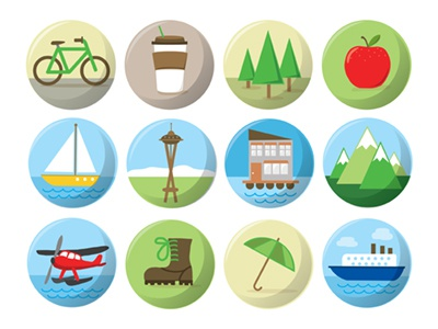 Seattle Icon Set seattle space needle iconic icons landmarks pnw pacific nature outdoors sitka trees flat design simple theme free