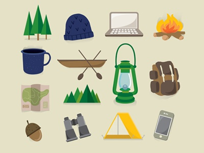 Camping & Outdoors Icons Hipster: Free camping icons symbols mtns hiking outdoors nature explore illustration drawings vector clean illustrator gear tent map trees hipster backpack free