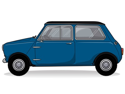 Vintage Mini Car Vector: Tim Degner vector rendering bmw mini car cooper illustrator illustration drawing dribbble degner retina hipster blue minicooper cars iconic wheels vintage retro