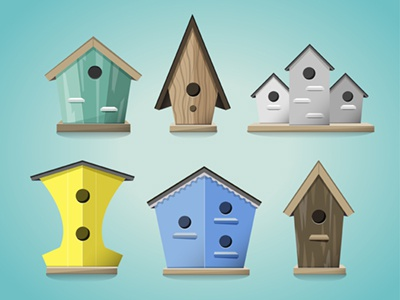 Birdhouse Illustration / Icons bird birdhouse icons timdegner illustrator psd vector free fun cartoon clean simple 3d new flat concept wood toy cute summer