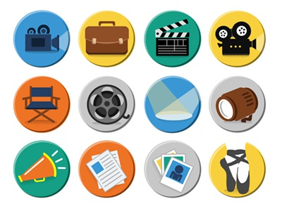 Actor Icons for Movie Mobile App actor movie diretor perfomring arts play icons flat fun young mobile colorful website