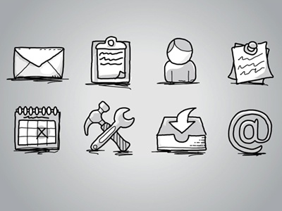 Office Icons: Hand Drawn, Sketch icons offie set draw hand drawn sketchy sketch notebook iconography timdegner nitrodesk app