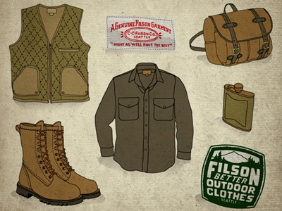 Filson Outdoor Clothes Drawing filson sketch illustration timdegner icons clothes apparel outdoor rugged hipster woods lumber