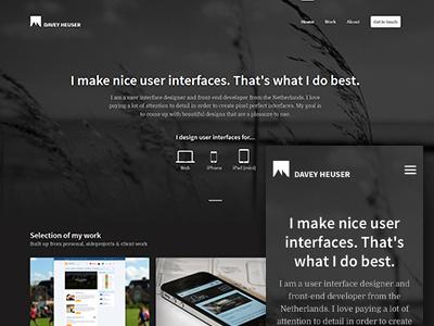 Portfolio 2013 responsive portfolio dark cross-device cross-platform background interactive google webfonts domine source sans pro navigation mobile