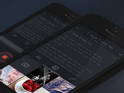 Night Notes Compose Screen dark notes ios app subtle monotype media audio recording iphone minimal ui