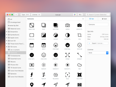 IconJar 1.0 release drag and drop grid organise search management icons native mac os mac app