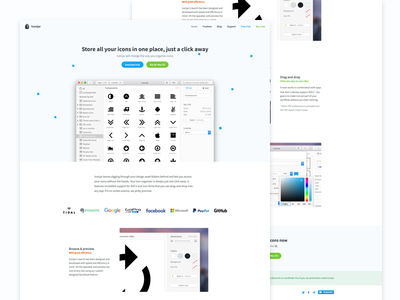 Iconjar website (v3) brand basscss responsive pattern mac app landing page website icons