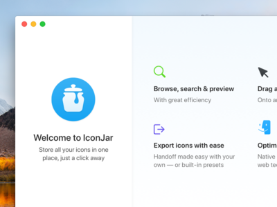 Onboarding screen for IconJar