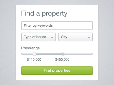 Property search widget [freebie] search widget property house ui form freebie download psd filter price range