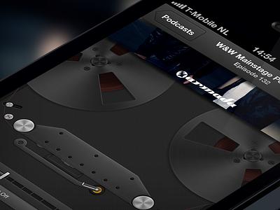 Podcast redesign [freebie] skeuomorphic podcast music redesign apple ios app mobile retina iphone dark ui interface sleek crisp progress volume tape recorder mockup user freebie psd realistic