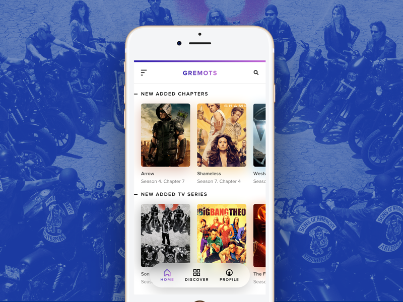 TV Shows / Movie App blur gradient ui design tv shows movie card ui