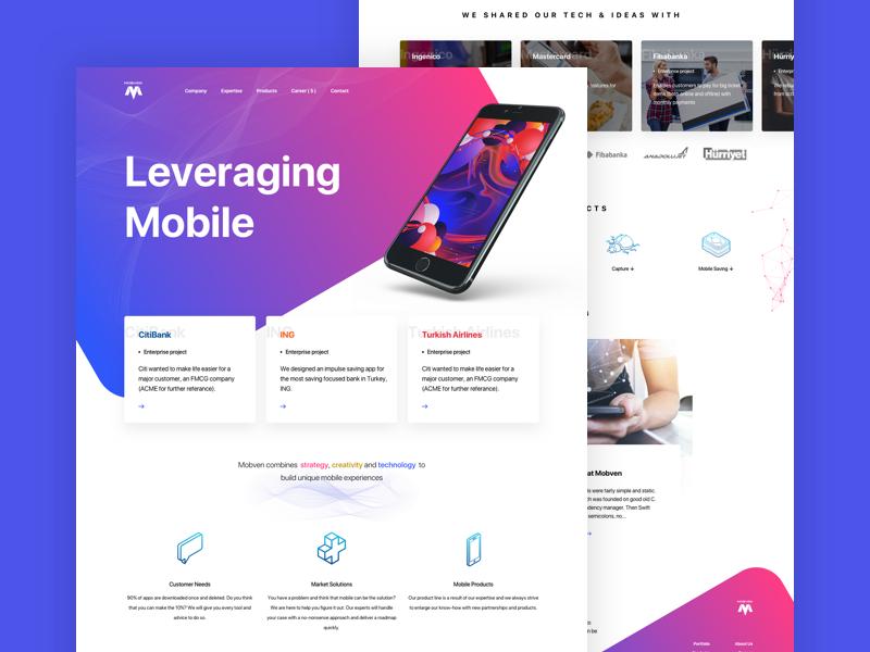 Mobven Website v1 colors wireframe web principle animation landing page phone mobile ux design ux ui